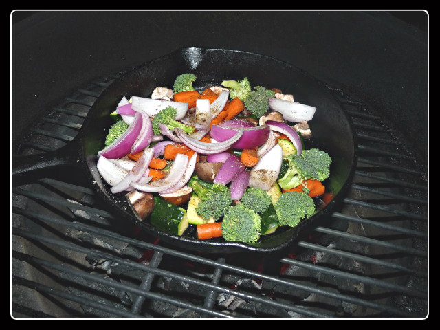 Veggies tossed with some olive oil, salt and pepper and a little bit of cajun season go directly on a grill preheated to 500-550F