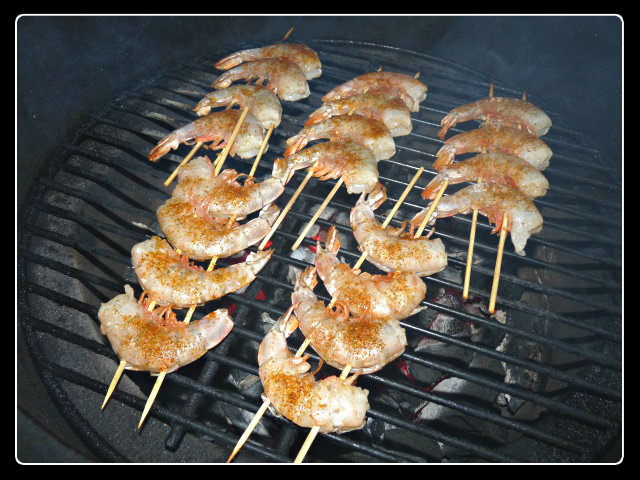 Shrimp on the grill at 550+