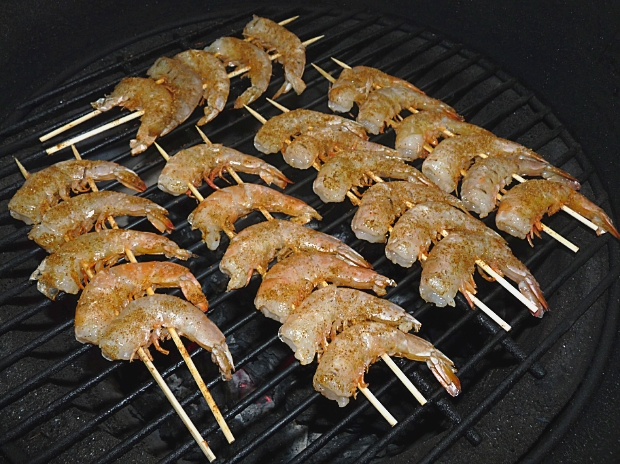 The shrimp on the grill at 400F