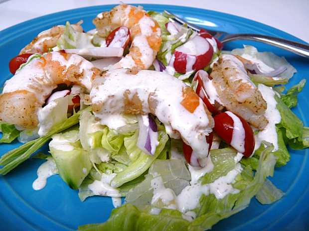 A refreshing and light grilled shrimp salad