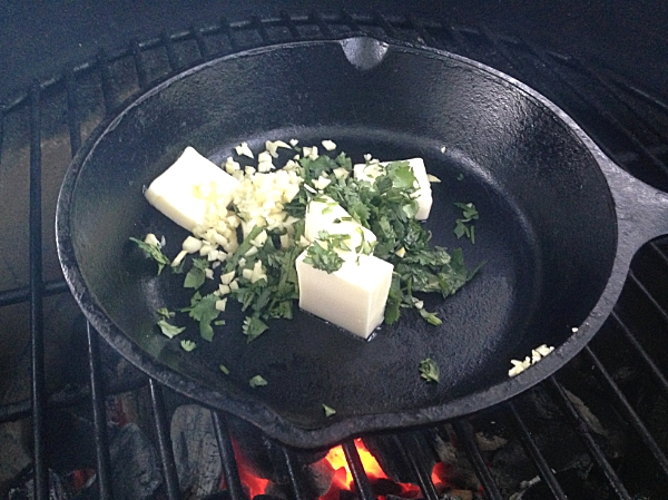 The butter mixture can be prepared on the stove or on the grill.